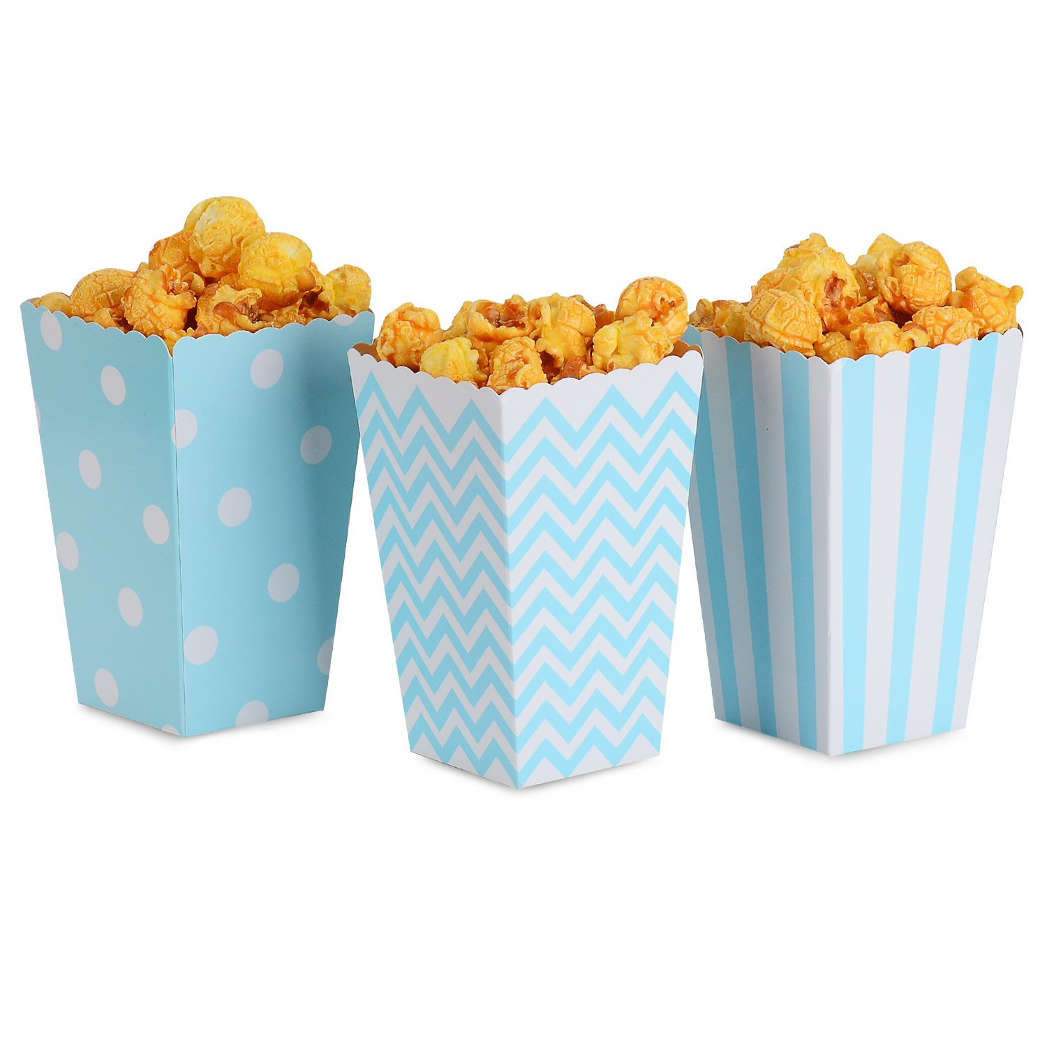NUIBY Popcorn Boxes, Blue Trio (36 Pack) Polka Dot, Chevron, Stripe treat boxes- Small Movie Theater Popcorn Paper bags Dessert Tables & Wedding Favors