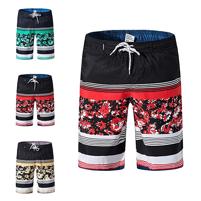 4ab90845c0 Mens Swim Trunks Quick Dry - Unique Patchwork Board Shorts with Mesh Lining Swimwear  Bathing Suits