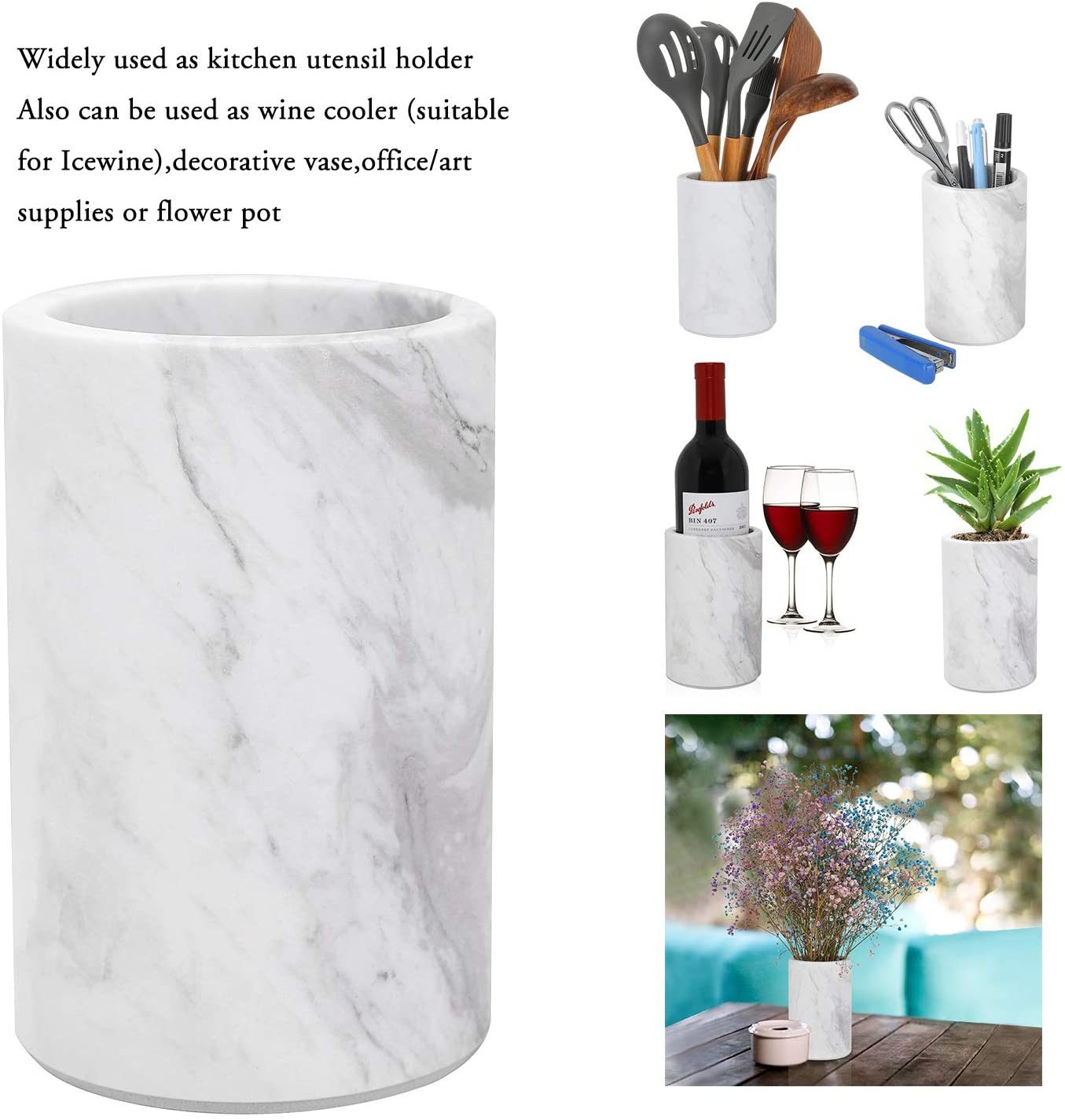 Utensil Holder Straws Fits Champagne Bottle Marble Crock by KooK Flowers