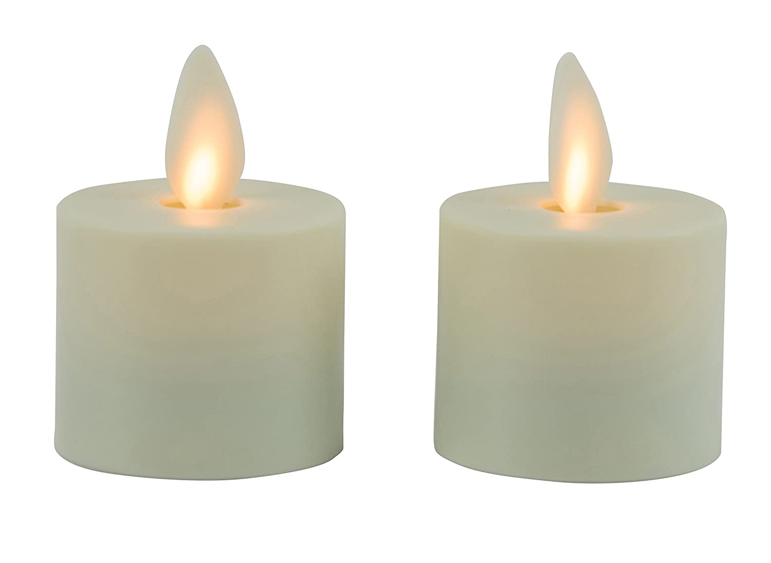 Mystique Flameless Candle Ivory 1.5 Tea Lights Set of 2 Plastic Candle With Realistic Flickering Wick Battery Operated By Boston Warehouse