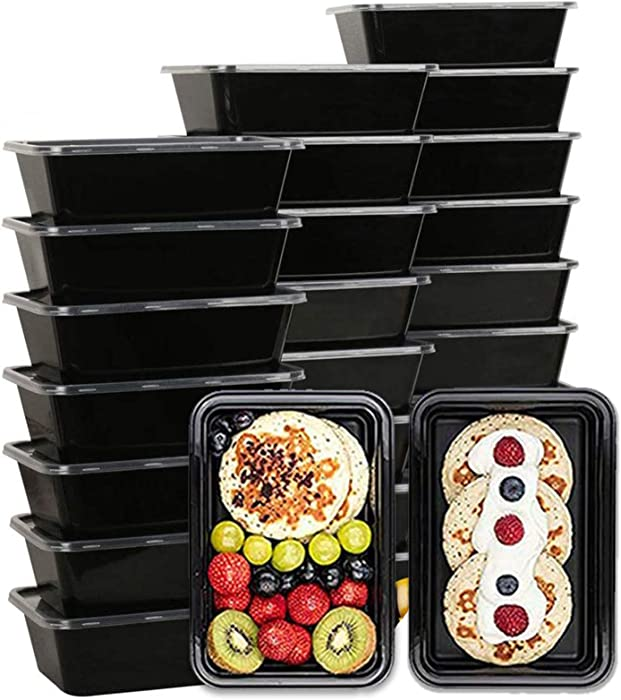 50 Pack Meal Prep Containers, Disposable Lunch Box, Food Storage Washable Containers with Lids, Reusable Plastic Bento Box Microwave/Dishwasher/Freezer Safe (750ML/ 26 OZ)