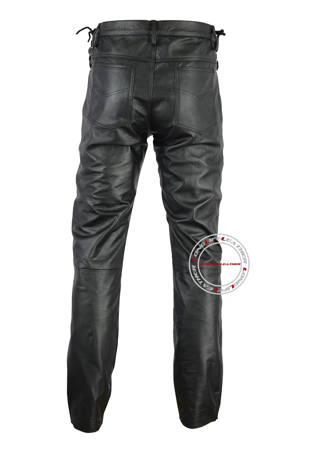Mens Genuine Leather Waist Side Laces Pant 5 Pockets Jeans Style Model L-102 (32'' Waist)
