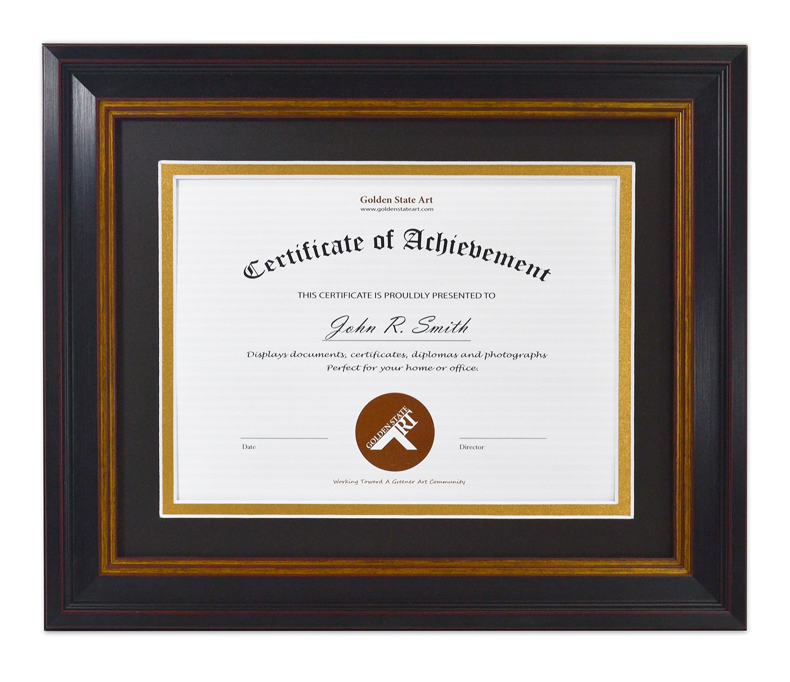 Golden State Art, 8x10 Frame for 6x8 Diploma/Certificate, Black Gold & Burgundy Color. Includes Black Over Gold Double Mat, Real Glass & Table-top Display by Golden State Art