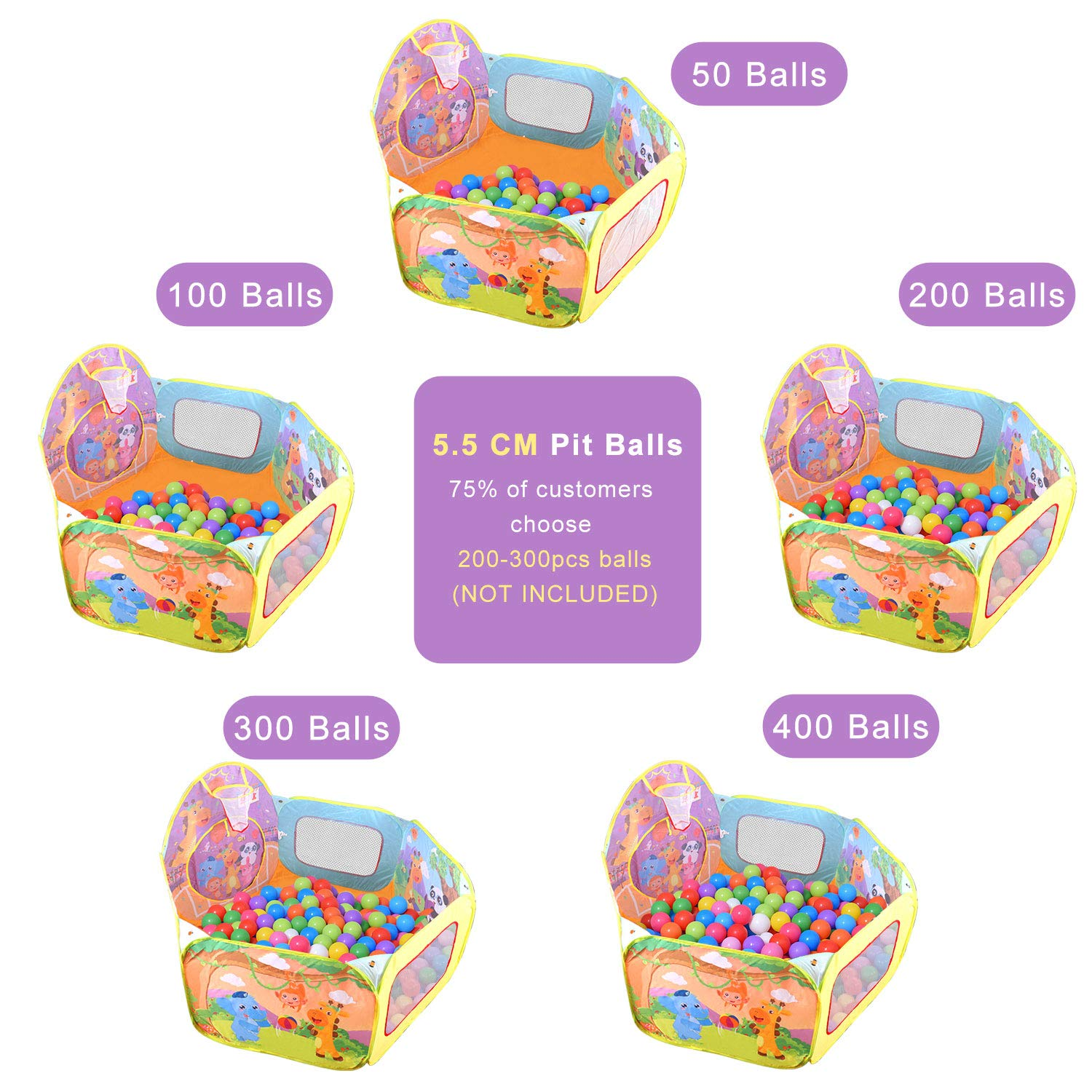 Children Ball Pool Baby Ball Pit Foldable Pool Tent Pop Up Indoor Outdoor Playhouse Baby Toddler with Zippered Storage Bag ICETEK Play Tent Kids Ball Pit Balls not Included