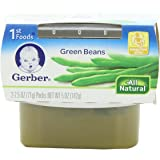 Gerber 1st Foods Green Beans, 2.5 oz Tubs, 2 Count (Pack of 8)