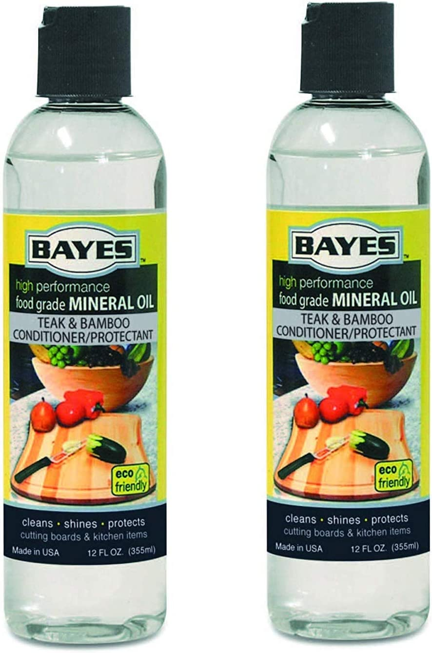 Bayes High-Performance Food Grade Mineral Oil Wood & Bamboo Conditioner and Protectant - Cleans, Conditions and Protects Wood, Bamboo, and Teak Cutting Boards and Utensils - 12 oz, 2 Pack