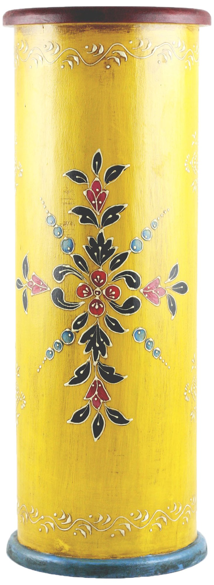 Timbergirl Hand-Crafted Hand-Painted Wooden Umbrella Stand, Yellow