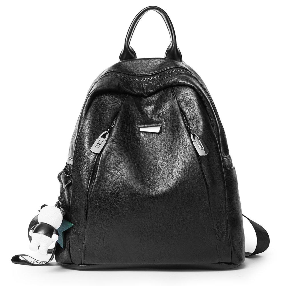 Backpack Purse for Women PU Leather Large Waterproof Travel Bag Fashion Ladies School Shoulder Bag black