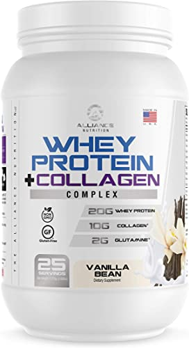 Whey and Collagen Protein Powder – High Protein with Glutamine, Fast Absorption, Joint Support, Quicker Recovery, Lean Muscle – All in One Nutritional Sports Drink for Men and Women – Vanilla