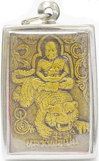 Pendant LP Phen Color Gold Back Tiger Thai Amulet Talisman Protection Life Yant