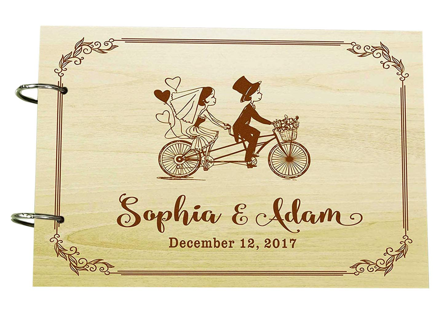 Personalised Wooden Guest Book Couple On Cycle Wedding Engraved Advice Book Custom Scrapbook