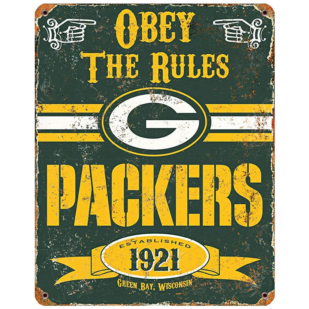 Amazon.com: NFL Football Greenbay Packers Logo Vintage Obey Rules Metal  Sign Home Decor: Home U0026 Kitchen