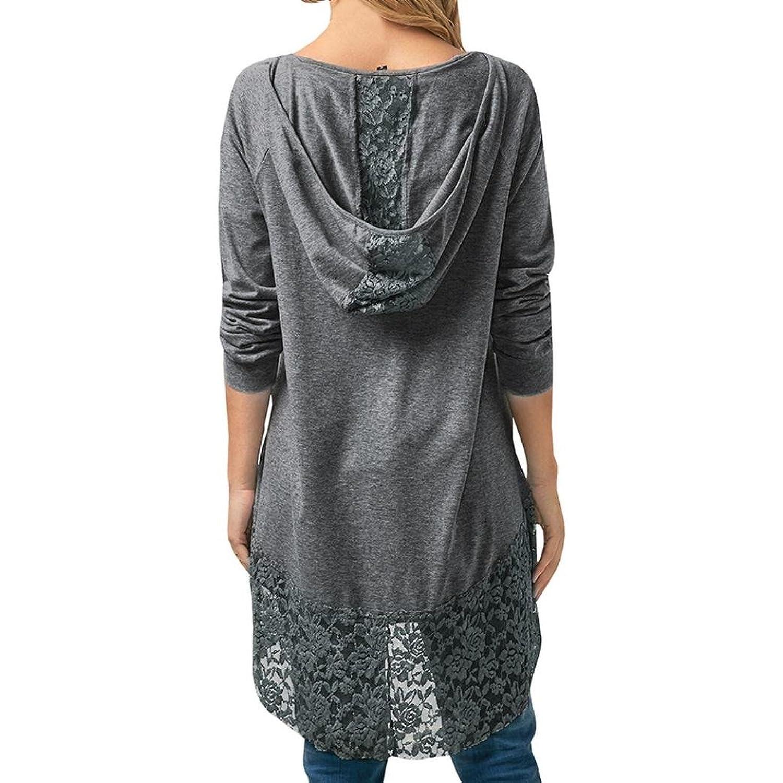 Amazon.com: FORUU womens Tops & Tees Blouse, Womens Casual Long Sleeve Lace Trim Hem Hoodie Loose Tunic Tops FORUU: Clothing