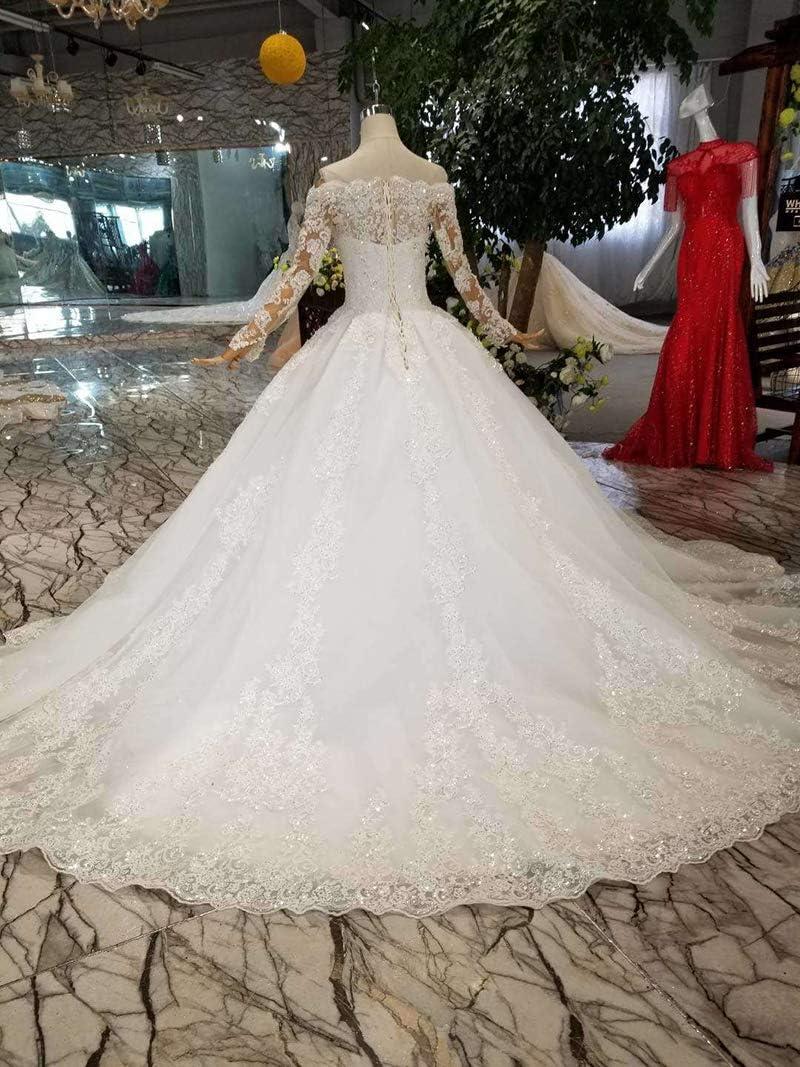 HALOHU Robes de mariée Robes de mariée Robes de mariée Robes de mariée Blanches Au Large de l'épaule Cou de Bateau Manches Longues Tribunal Train O Cou Ivory16W
