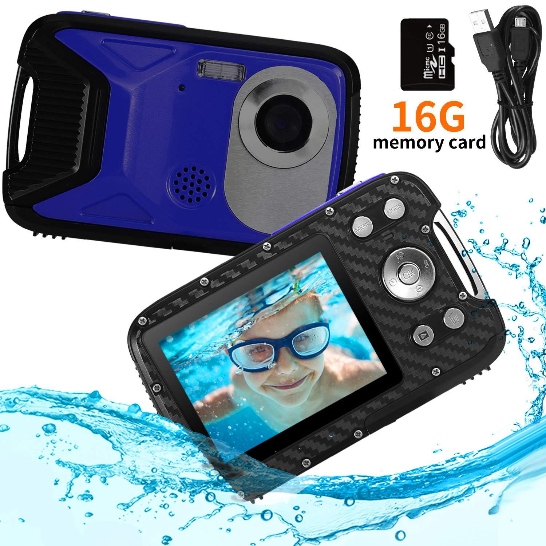 Pellor Waterproof Digital Camera for Snorkeling 2.8'' FHD 1080P 8.0MP CMOS Sensor 21MP Video Recorder Selfie DV Recording Underwater Camerater Camera with 16 SD Card (Blue)