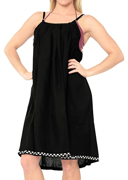 a33fcada8c Amazon.com  LA LEELA Rayon Solid Beach Womens Dress Wear OSFM 14-16  L-1X   Black 6360  Clothing