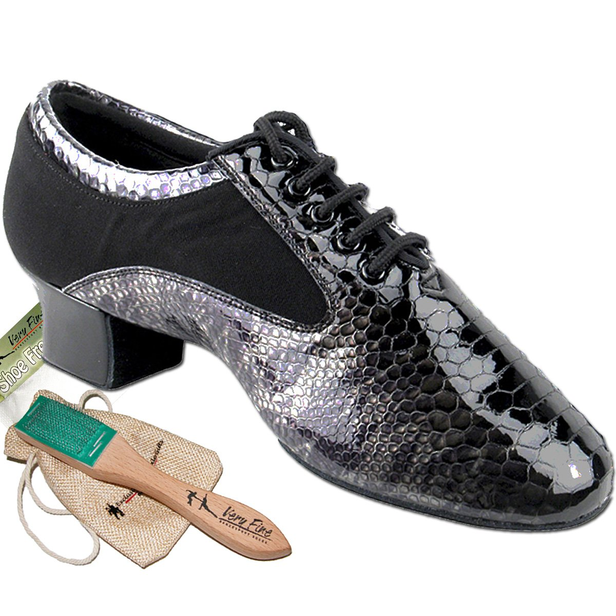 Men's Ballroom Dance Shoes Tango Wedding Salsa Latin Dance Shoes Black Snake Patent S445EB Comfortable - Very Fine 1.5'' Heel 11.5 M US [Bundle of 5] by Very Fine Dance Shoes