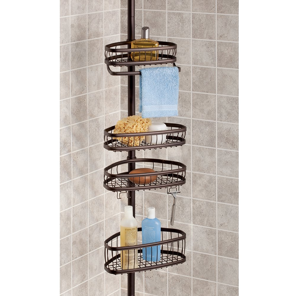 InterDesign York Constant Tension Shower Caddy – Bathroom Storage Shelves for Shampoo, Conditioner, Soap and Razors, Bronze by InterDesign (Image #3)