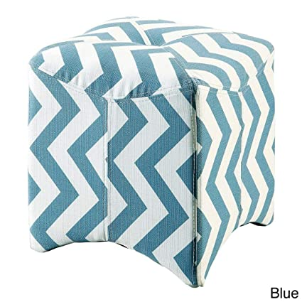 Super Amazon Com Os Light Teal Blue White Zig Zag Square Ottoman Andrewgaddart Wooden Chair Designs For Living Room Andrewgaddartcom