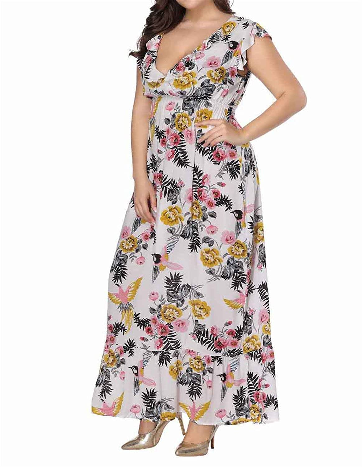 Aworth Maxi Ruffles Print Plus Size Dress Large Size Vacation Long Evening Party Dress V-Neck at Amazon Womens Clothing store: