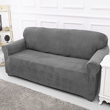 Sofa Covers Slip Over Easy Fit Elastic Fabric Couch Stretch Settee  Slipcovers Protector 2 Seater Grey