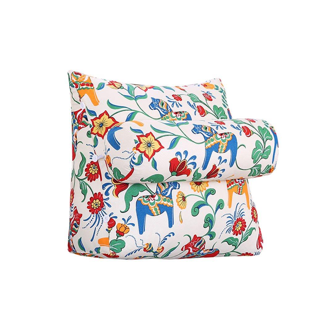 HN Bed pillows Bedside Triangle Pillow Lumbar Pillow With Headrest Backrest Sofa Bed Headrest Waist Pads Bed Soft Pack Office Pillow Bay Window Cushion Back Printing (Size : 45cm20cm50cm)