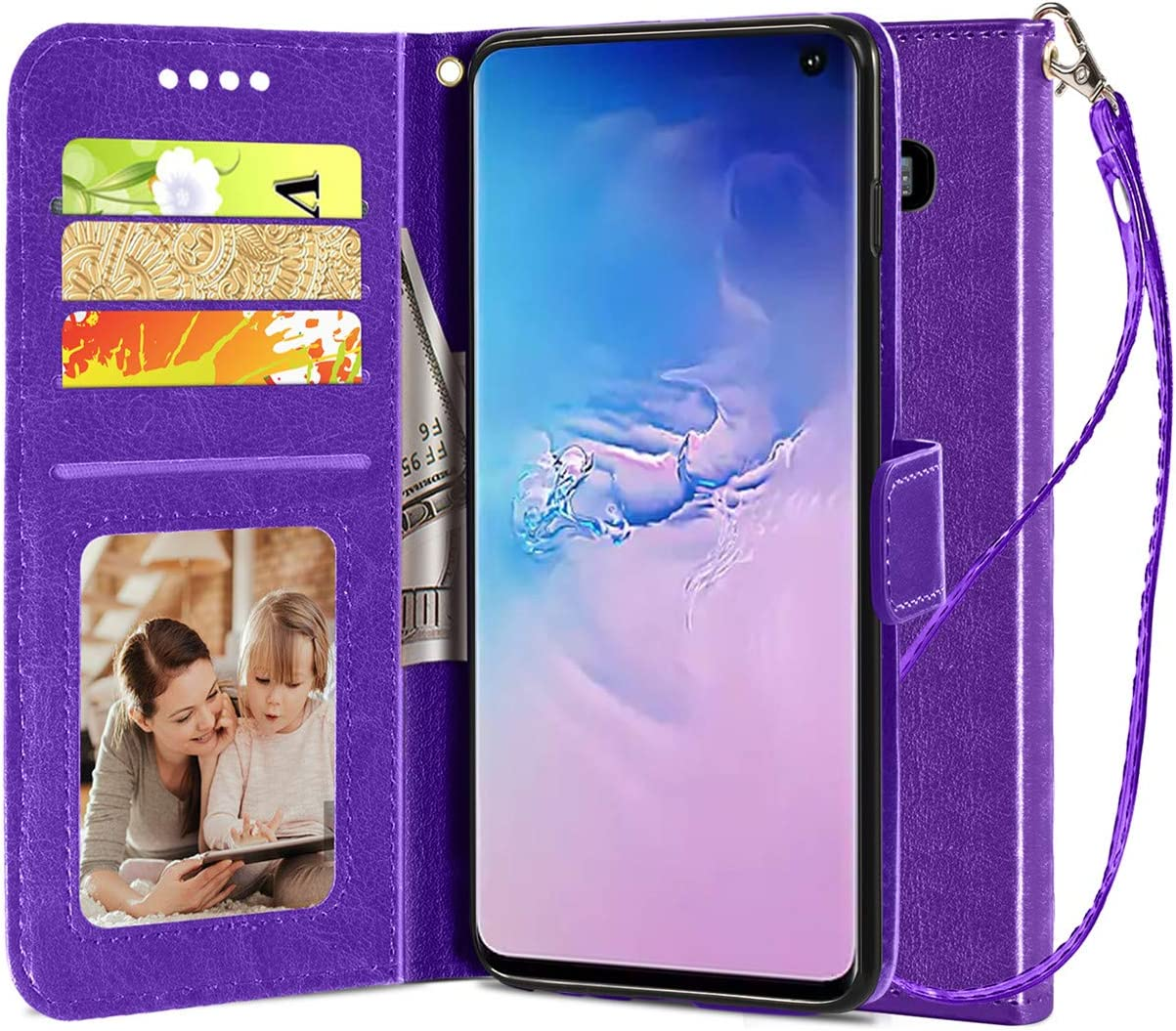 Samsung Galaxy S10 Wallet Case, [Wrist Strap] Luxury PU Leather Wallet Flip Full Body Protective Case Cover with [Card Slots] and Kickstand for Samsung Galaxy S10-Purple