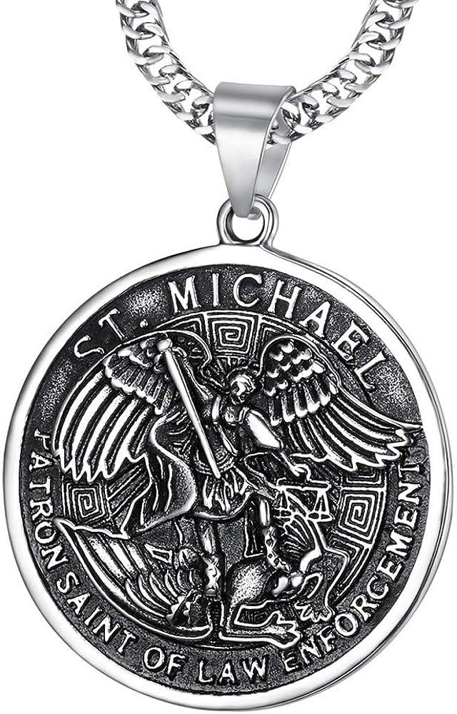 BOBIJOO JEWELRY - Colgante Medalla de San Miguel Miguel Arcángel, patrono de la Policía de Las Fuerzas de la Orden de Cadena de Acero 316L