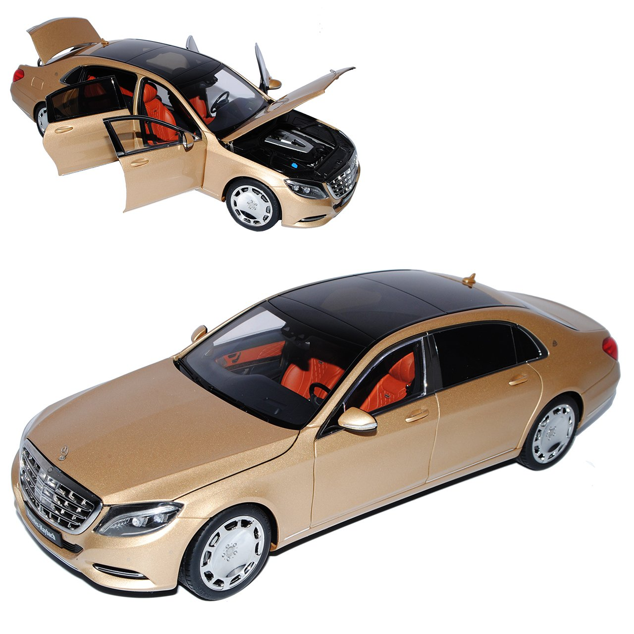 AUTOart Mercedes-Benz S-Klasse W222 Maybach S600 Champagner Gold Ab 2015 76294 1/18 Modell Auto mit individiuellem Wunschkennzeichen