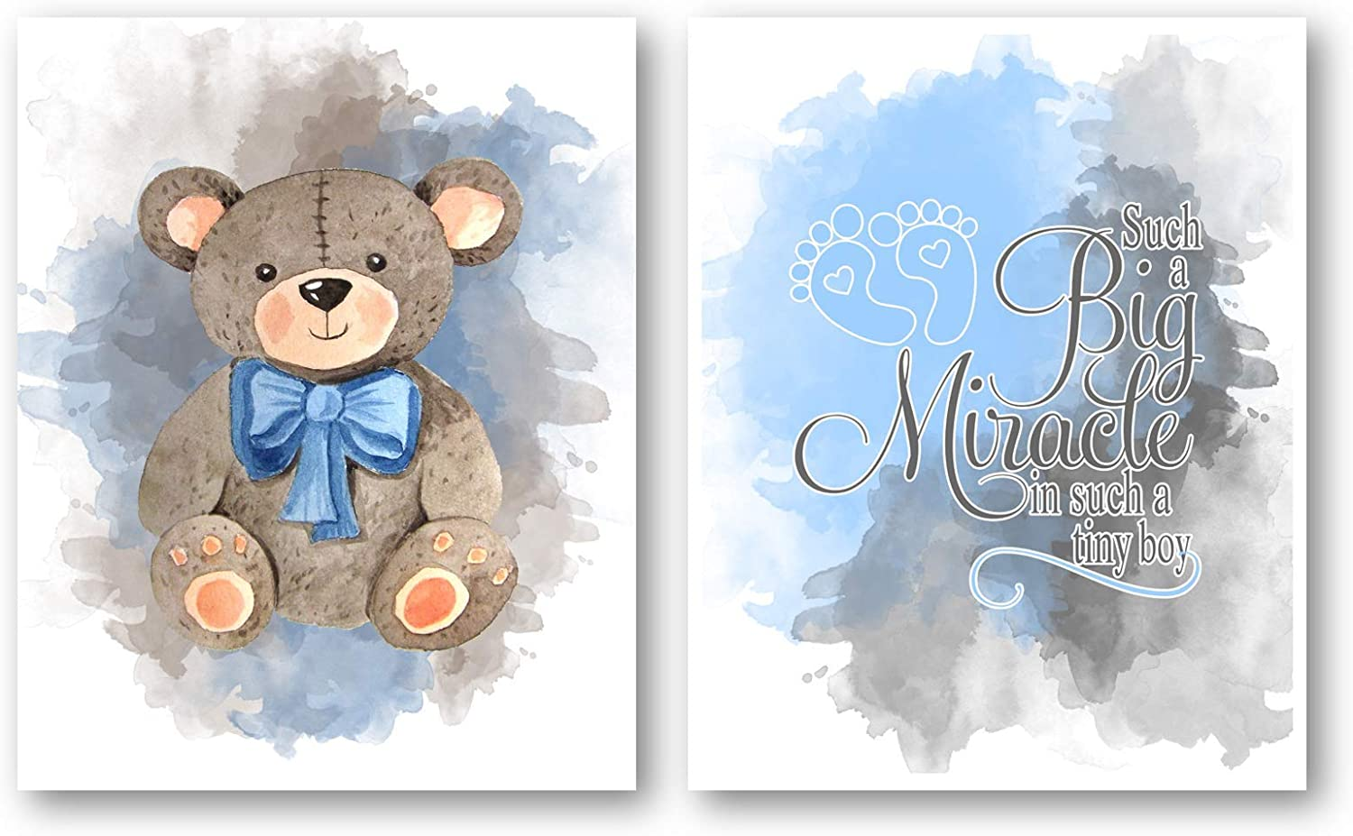 Ramini Brands Baby Boy Nursery Decor Art - Set of 2 8 x 10 Unframed Prints - Teddy Bear and Footprints - Great Gift for Baby Showers