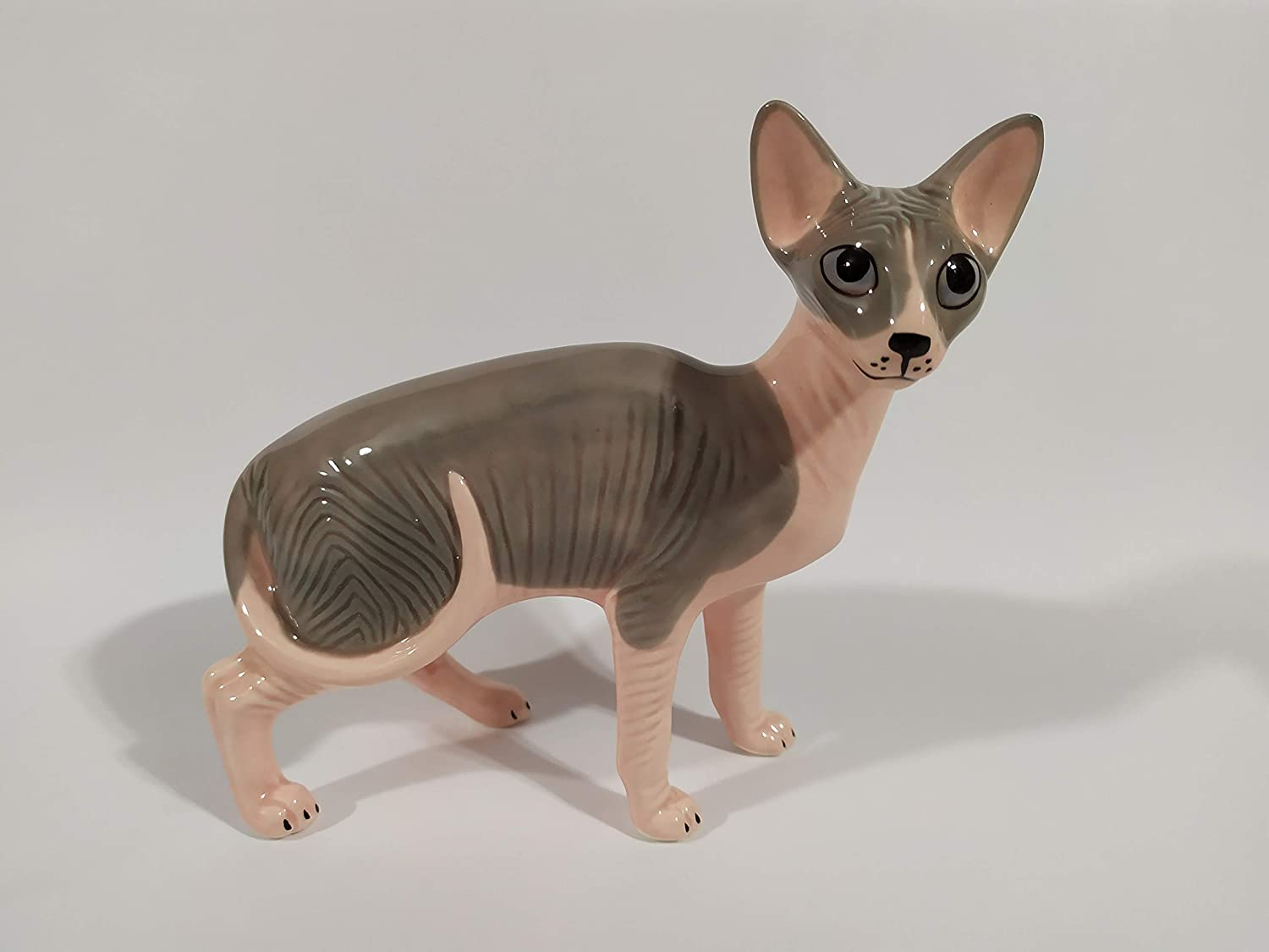 Sphynx hairless cat Author/'s Porcelain figurine Color Grey Gift Box NEW