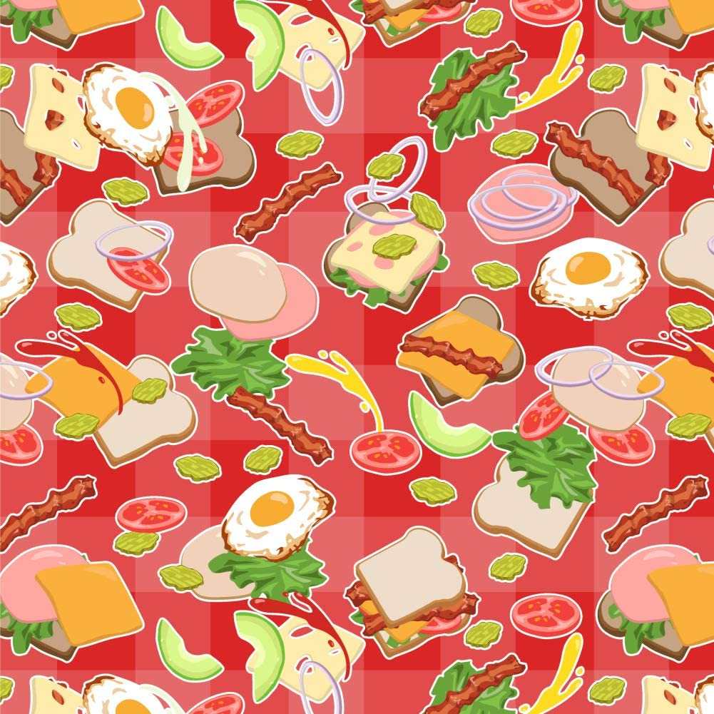 GRAPHICS & MORE Messy Sandwich Pattern Bread Cheese Bacon Lettuce Egg Food Premium Roll Gift Wrap Wrapping Paper