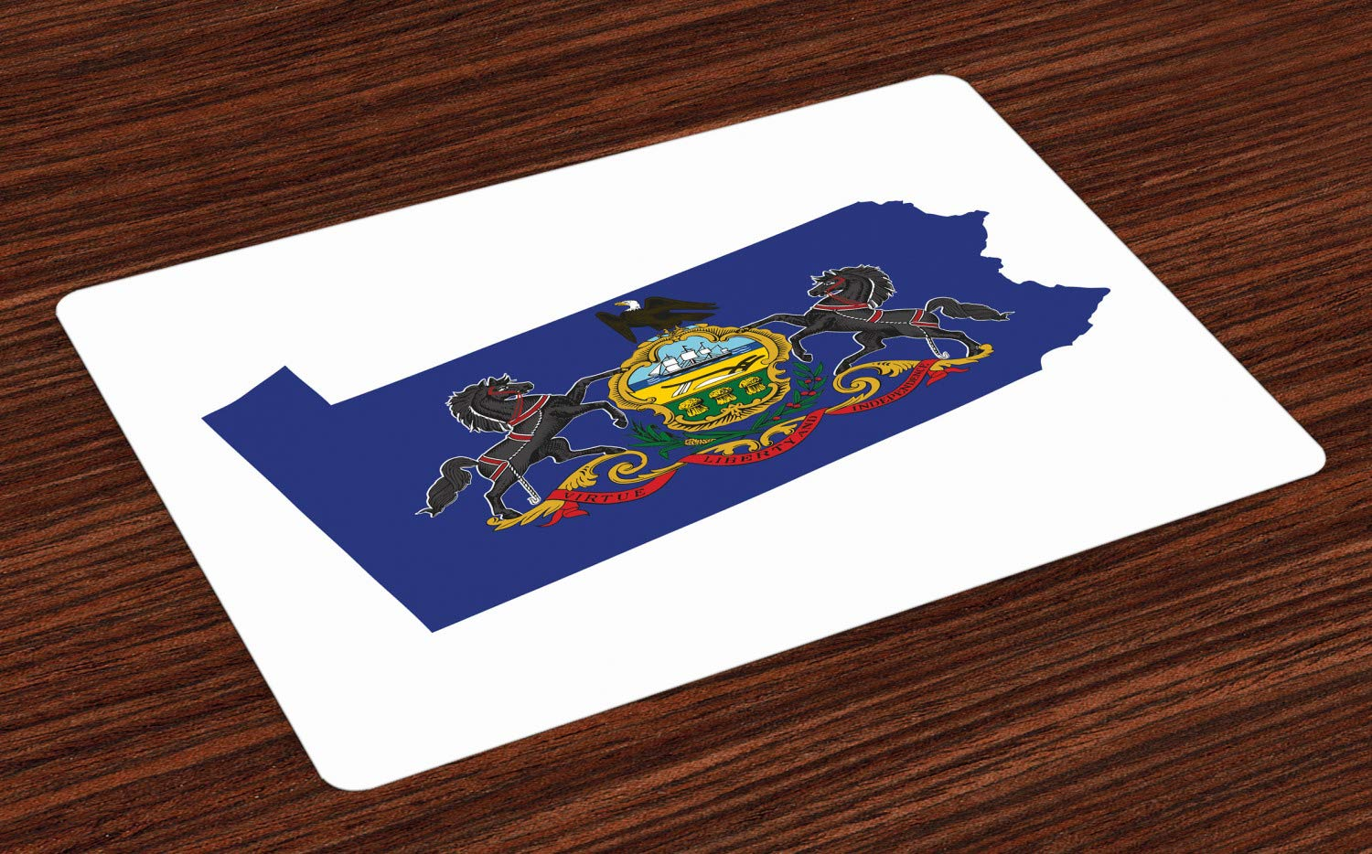 Lunarable Pennsylvania Place Mats Set of 4, Keystone State Flag and Map Horses American Eagle Coat of Arms, Washable Fabric Placemats for Dining Room Kitchen Table Decor, Cobalt Blue Multicolor