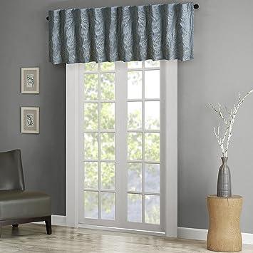 Andora Faux Silk Embroidered Window Valance Blue 50x18u0026quot;