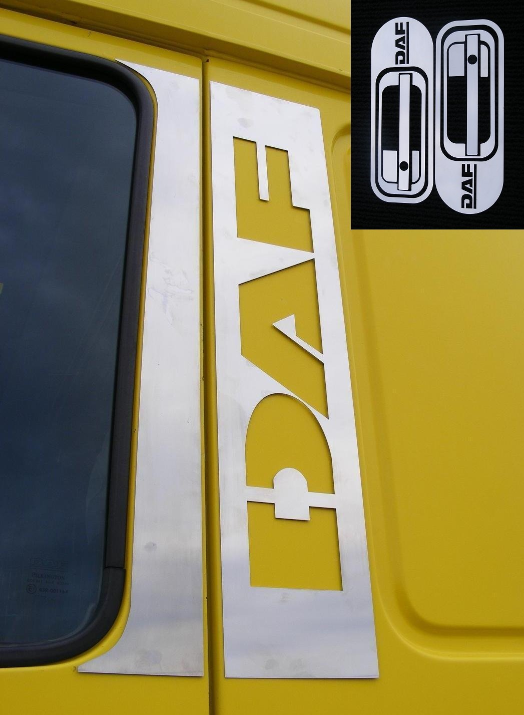 6 pezzi in acciaio INOX lucido cromato decorazioni finestra + maniglia di accessori per XF95 XF105 Trucks ES008015