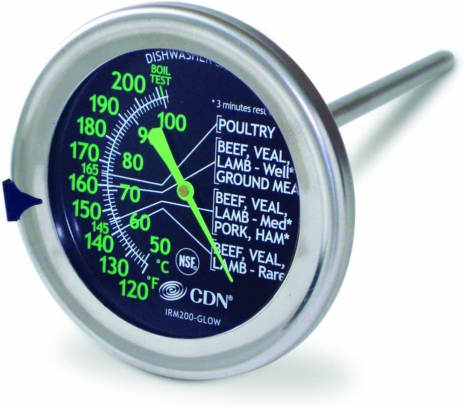 CDN IRM200-GLOW - ProAccurate Meat/Poultry Oven Thermometer-Extra Large Glow-in-the-Dark Dial (Renewed)
