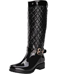 ALEXIS LEROY New Arrival Warm Winter Women Knee High Checkered Pattern Side Zip Rain Boots Shoes