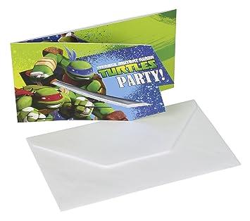 12 Teiliges Einladungen Set * TEENAGE MUTANT NINJA TURTLES * Mit 6  Einladungskarten Und