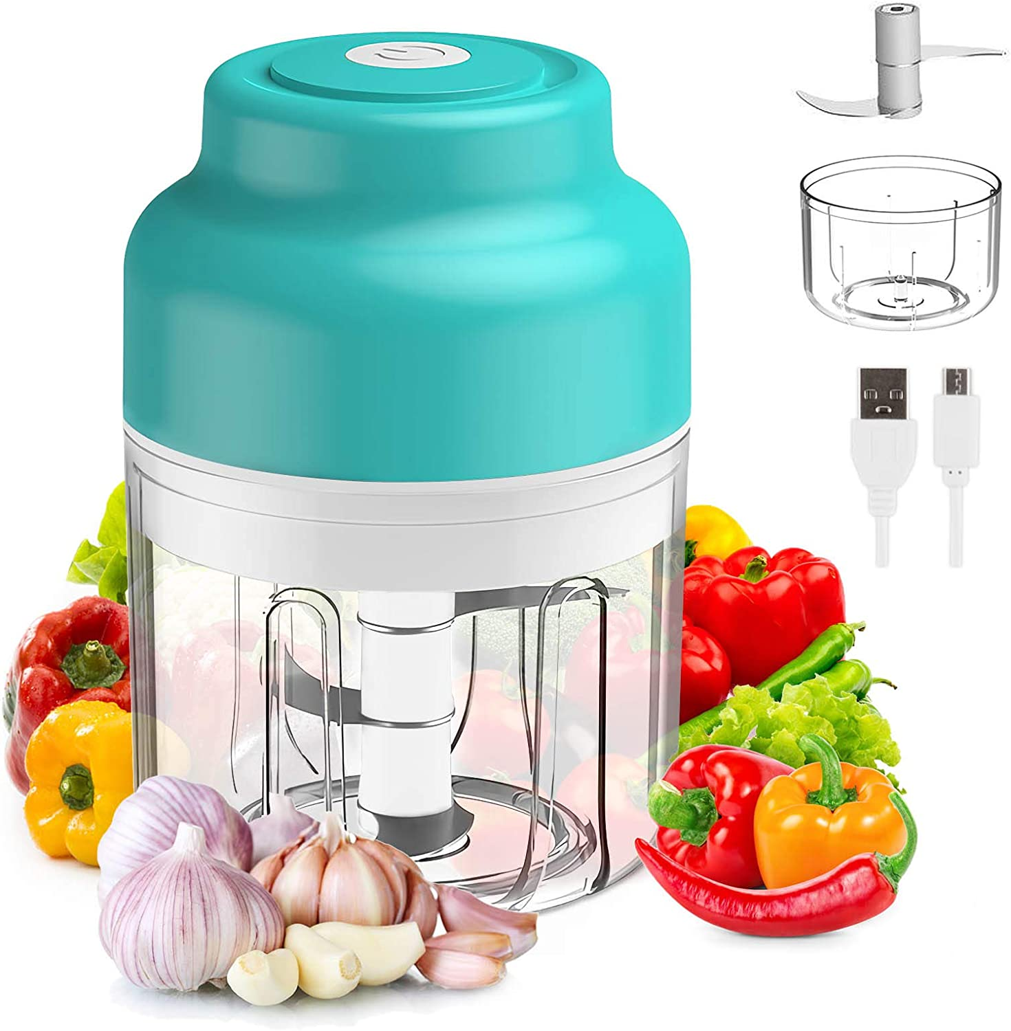 Electric Mini Garlic Chopper, Cordless Mini Food Processor, Veggie Chopper with USB Charging, Food Chopper for Fruits Onions Pepper Chili Vegetable Ginger Spice Salad,250 and 100ml 2Pcs Bowls (Green)