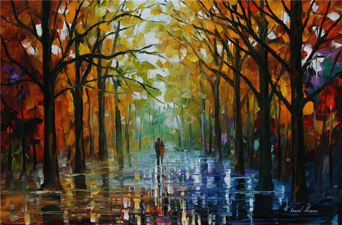 100% Hand Painted Oil Paintings Decor Abstract Modern Painting Lovers Walking in the Woods Home Wall Decoration (36X54 Inch, Wall Arts 6)