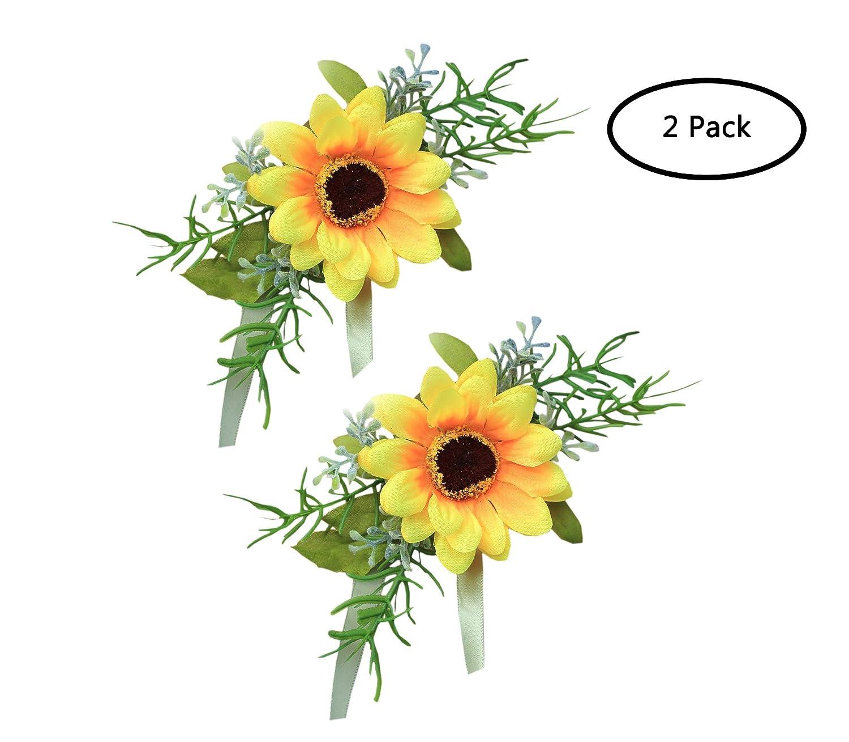 花嫁ブライズメイドウェディング花コサージュ手首フラワーシミュレーションひまわり Pack of 2 1 B07B8D8J38 スタイル1 Pack of 2