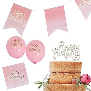 30 Tlg Partyset Happy Birthday Geburtstag Rosa Gold Madchen