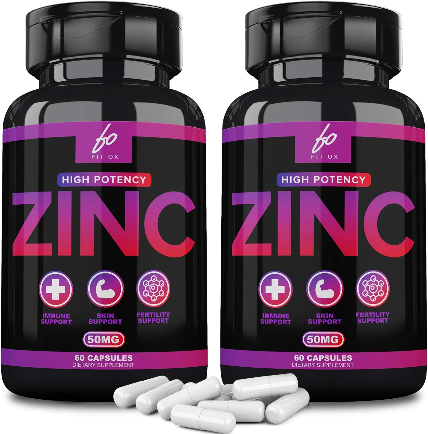 (50mg) Zinc Oxide Citrate Supplement Vitamin for Adults Kids Men Women for Immune Support Booster, Pure Zink Vitaminas Capsules Pills Alternative to Chewable Zinc Gummies, Lozenge Liquid Drops(2 Pack)