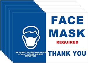 10 Pack Face Mask Required Sign Face Mask Required Decals Stickers Signs Wall Window Glass Signage Public Safety Decal, 10 x 7 Inch