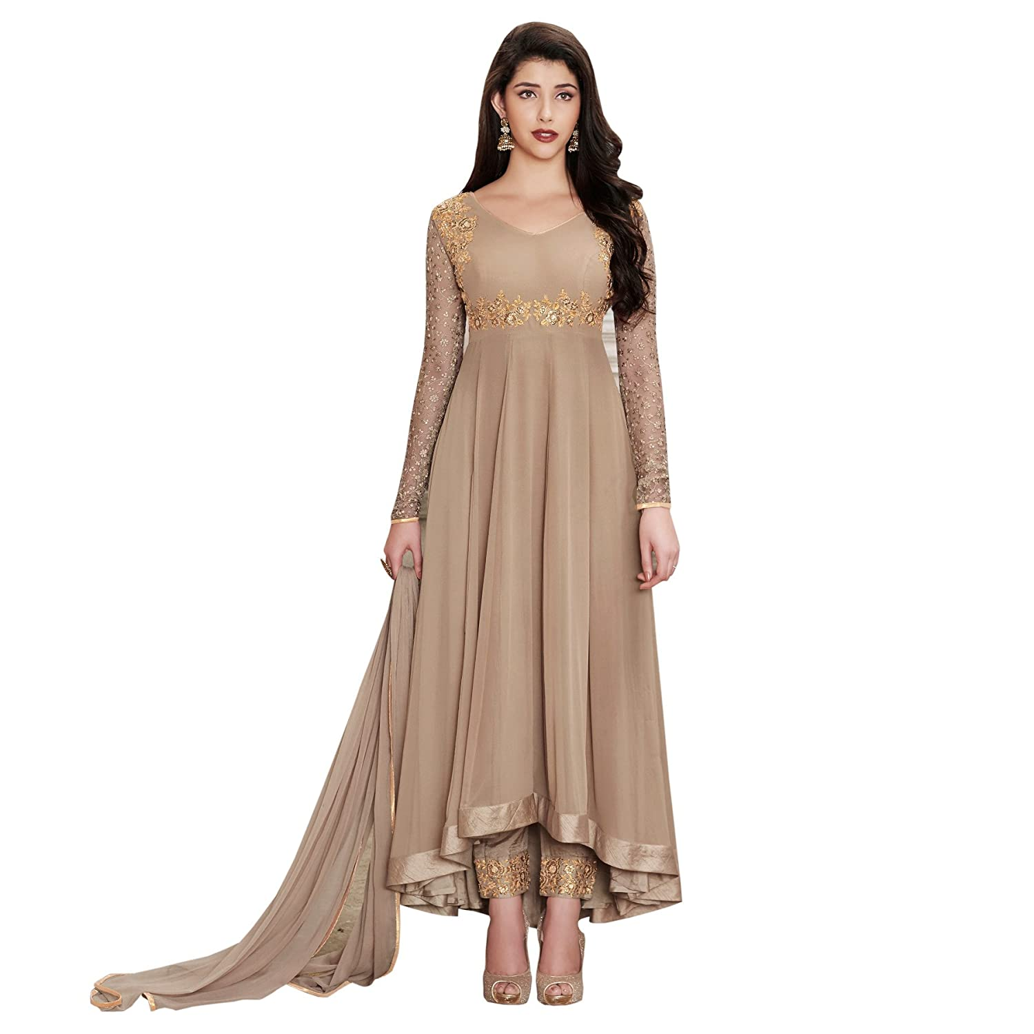 e64327e35a2 Glamify Women s Georgette Semi-Stitched Anarkali Suit (Grey Free Size)   Amazon.in  Clothing   Accessories