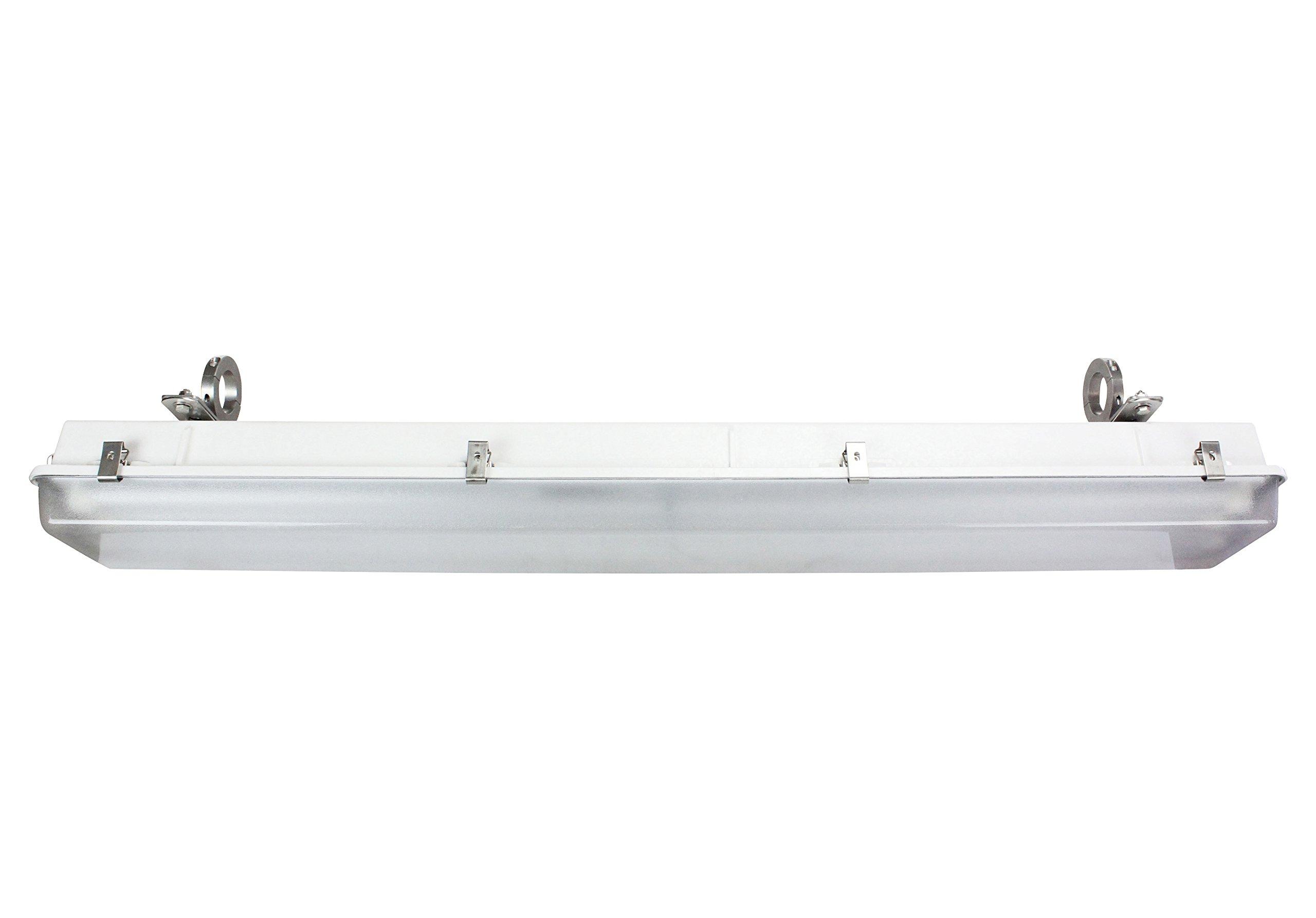 3-Lamp Corrosion Resistant Fluorescent Light Fixture - 2'' Stainless Steel Pole Mount Brackets(-54W 5000K-T5HO-3in)
