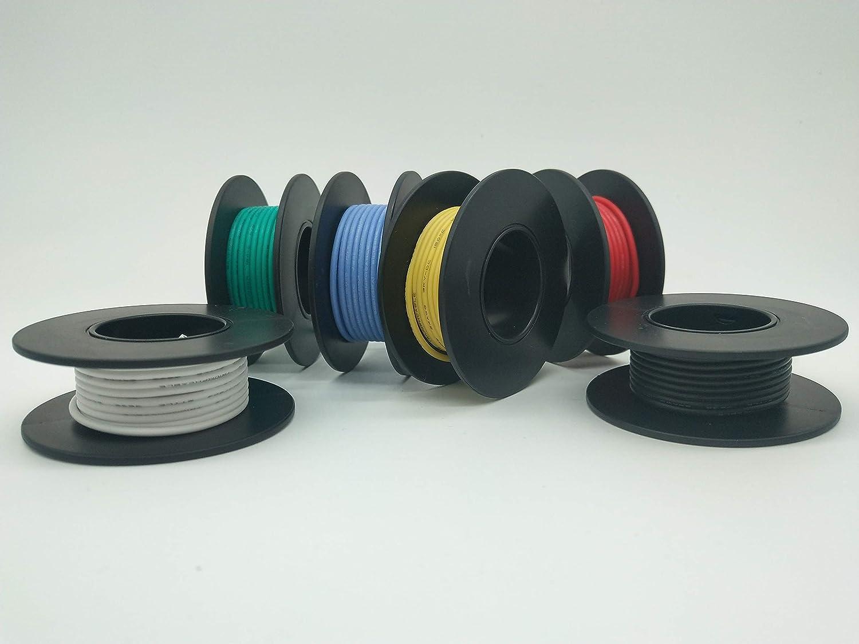 Cable el/éctrico de 30AWG cable de conexi/ón de cable flexible Resistencia a altas temperaturas de cable trenzado 3000V 10m 30AWG
