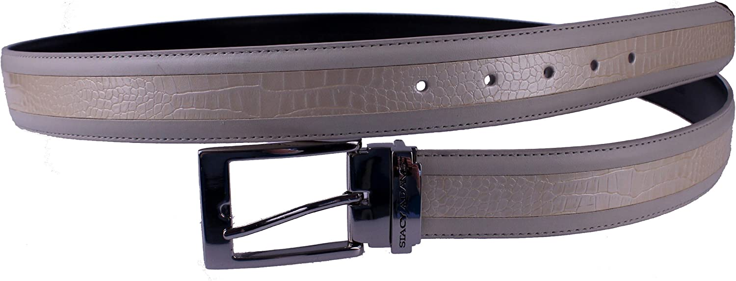 Stacy Adams 6-203 Smooth Grain Leather with Croco Embossed Center Detail Mens Adjustable Belt Polished Nickel Buckle