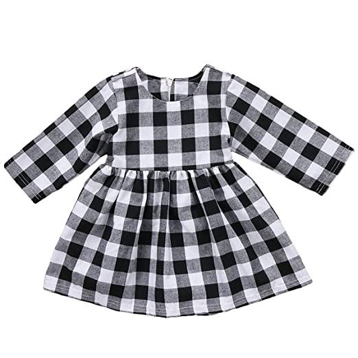 2d95b6c47c84 Amazon.com  GRNSHTS Baby Girls Dress White and Black Plaid Long ...