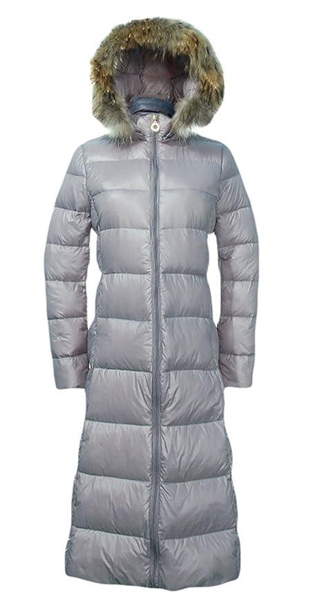 V-SOL Mujer Abrigo Largo Invierno Con Capucha Con Pelo Sintético (Asia Talla XL, Gris): Amazon.es: Ropa y accesorios